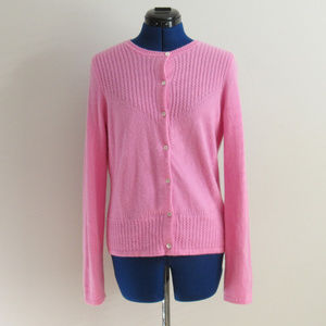 Pink Cashmere Cardigan Size Medium Cabled Ribbing